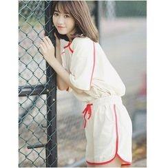 DYONG - 套装: 配色边中袖T恤 + 运动短裤