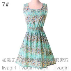 LIVA GIRL - Sleeveless Floral Print Chiffon A-Line Dress
