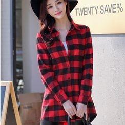 Enjoi - 格纹长款衬衫