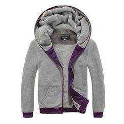 maxhomme - Contrast Trim Fleece-Lined Hood Jacket
