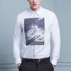 Antszone - Long-Sleeve Printed Shirt