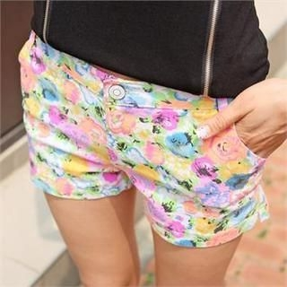 Cocoblanc - Cotton Blend Floral Patterned Shorts