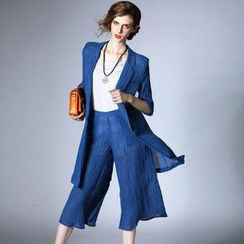 Elabo - Set: Single-Button Long Jacket + Capri Pants