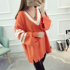 Dream Girl - Ripped V-Neck Contrast Trim Long Sweater