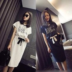 QZ Lady - Set: Short-Sleeve Pinstriped Top + Pinstriped Long Skirt