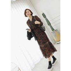 Lemite - V-Neck Floral Pattern Chiffon Long Dress