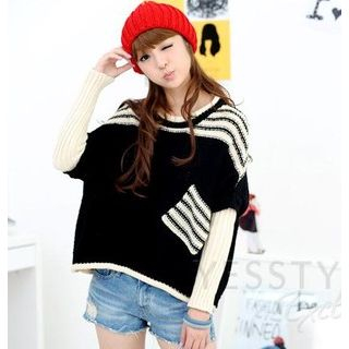 59 Seconds - Pocket-Front Striped Sweater