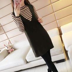 COET - 套装:长袖条纹针织上衣 + 无袖后开衩连衣裙