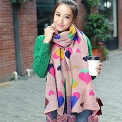 GreatMay - Pompom Accent Heart Pattern Knit Scarf