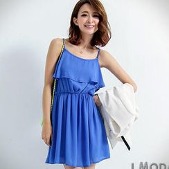 OrangeBear - Sleeveless Ruffle Chiffon Dress