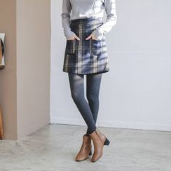 JUSTONE - Plaid Wool Blend A-Line Mini Skirt