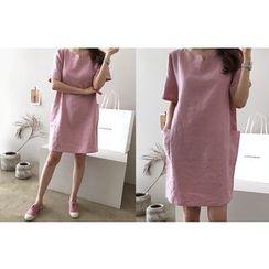 DAILY LOOK - Open-Placket Pocket-Detail Linen Dress
