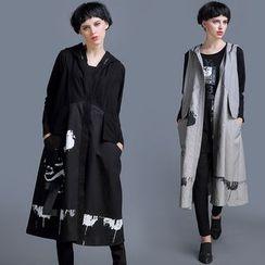 JUBO - Printed Hooded Long Vest