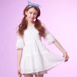 Tokyo Fashion - Bell-Sleeve Eyelet-Lace Tunic