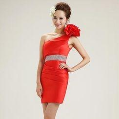 Bridal Workshop - Rosette One-Shoulder Sheath Party Dress