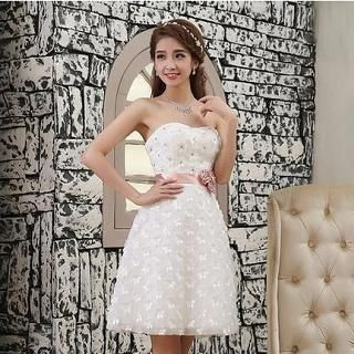 Luxury Style - Strapless Rosette A-Line Party Dress