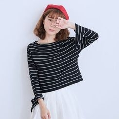 BAIMOMO - Striped Cropped Knit Top