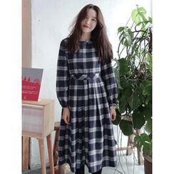 maybe-baby - Round-Neck Long Checked Dress