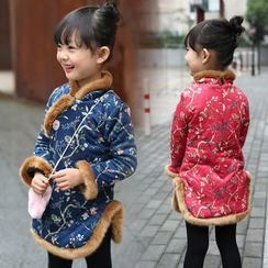Merry Go Round - Kids Floral Print Furry Trim Long-Sleeve Dress