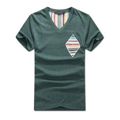 MR.PARK - Short-Sleeve Striped Panel T-Shirt