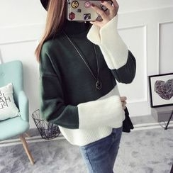 Qimi - Color Block Thick Sweater
