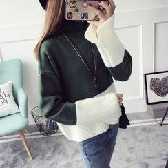 Qimi - 撞色厚毛衣