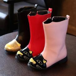 綠豆蛙童鞋 - 兒童貓咪刺繡長靴