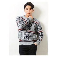 HOTBOOM - Crew-Neck Patterned Sweater