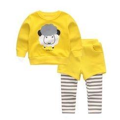 Yobaby - Kids Set: Sheep Print Pullover + Mock Two-Piece Pants