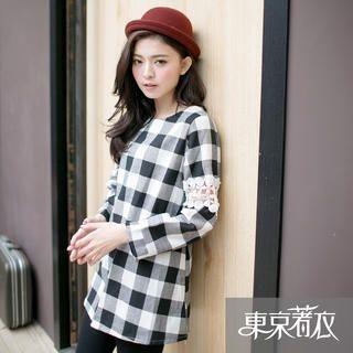 Tokyo Fashion - Crochet-Sleeve Plaid Tunic