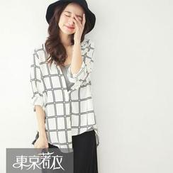Tokyo Fashion - Windowpane Plaid Tab-Sleeve Shirt