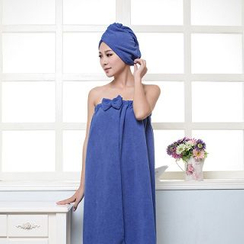La Vie - Set: Bow-Accent Bath Towel + Hair Drying Cap