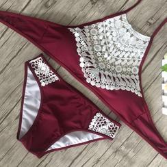 Rivergirl - Crochet Panel Halter Bikini