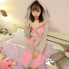 Fashion Street - Bunny Ear Hooded Coral Fleece Robe