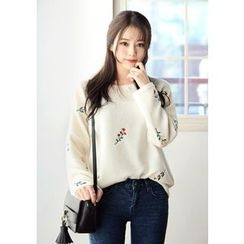 DEEPNY - Flower Embroidered Knit Sweater