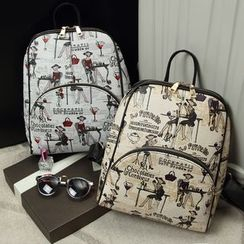 Ballerina Bags - Faux Leather Print Backpack