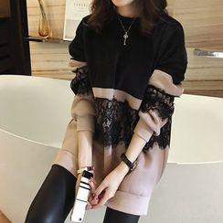 lilygirl - Lace Panel Fleece-Lined Sweat Dress
