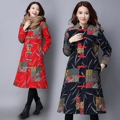 Diosa - Patterned Chinese Frog Buttoned Quilted Coat