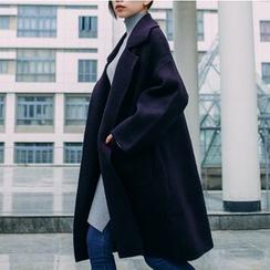 Pluvio - Plain Long Woolen Coat