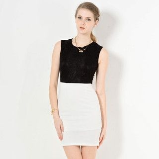 YesStyle Z - Sleeveless Two-Tone Lace Shift Dress
