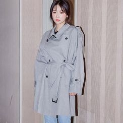 chuu - Double-Breasted Cotton Trench Coat with Belt