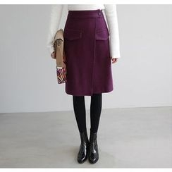 Miamasvin - Surplice-Wrap Wool Blend Midi Skirt