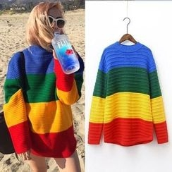 MayFair - Color Block Thick Sweater