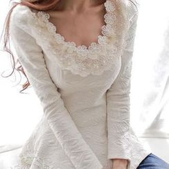 Dabuwawa - Long-Sleeve Beaded-Neckline Peplum Top