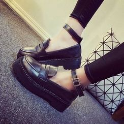 Laceuplux - 踝带厚底鞋