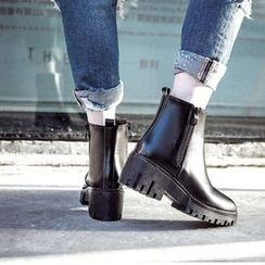 Mancienne - Chunky-Heel Platform Zip-Side Ankle Boots