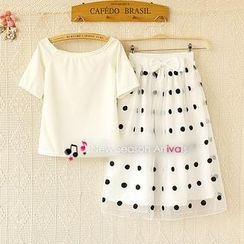 Ringnor - Set: Short-Sleeve Top + Dotted Mesh Skirt