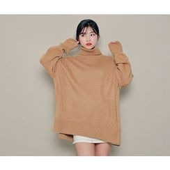 HOTPING - Turtle-Neck Slit-Side Knit Top