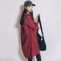 MIKPO - Gingham Long Blouse