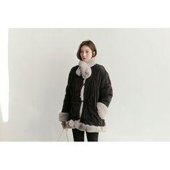 UPTOWNHOLIC - Shirred-Trim Faux-Fur Jacket With Scarf